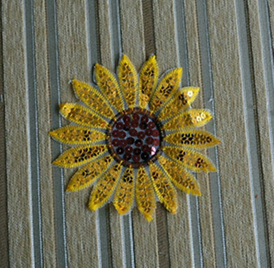 Wholesale lot  10pcs sequin sunflower  patch DIY sewing craft  14cm 5.6inch