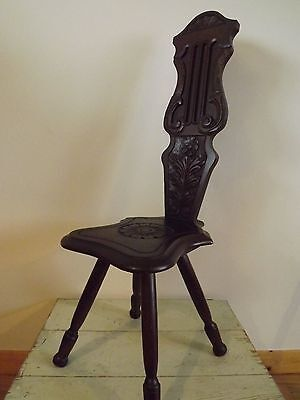 An Antique Arts & Crafts? Spinning Stool Chair / decorative carved chair / plant