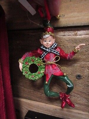New Adorable Christmas tree Elf ornament Holiday Decor Red/green