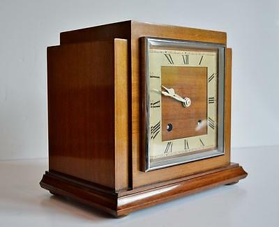 VERY ATTRACTIVE GARRARD ART DECO 8-DAY MAHOGANY STRIKING MANTLE CLOCK dated 1931
