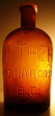 19C. Antique Bayer Anesthesia Aether Ether Chloroform Apothecary Army Bottle Jar