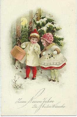 Children in red & white in snow with box & holly    B&R