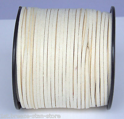 10ya 3mm Beige Suede Leather String Jewelry Making Thread Cords hot
