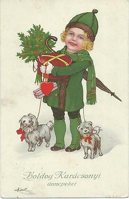 Marie Flatscher  (unsign)  Girl & two small dogs with Xmas parcels