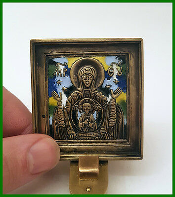 Russia orthodox bronze icon The Virgin of Sign.  Enameled! 19th. cen.