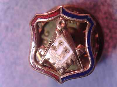 Antique 14K Gold Free Masons Compass   Lapel Collar Screw Back Pin