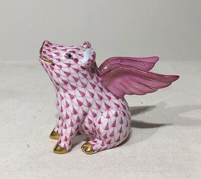 Herend Flying Pig with Wings 15299-0-00 VHPM Pink When Pigs Fly figurine