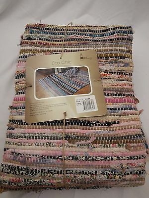 new with tags Eco chic hand woven rug browns red turquoie 42 X 66 made in India