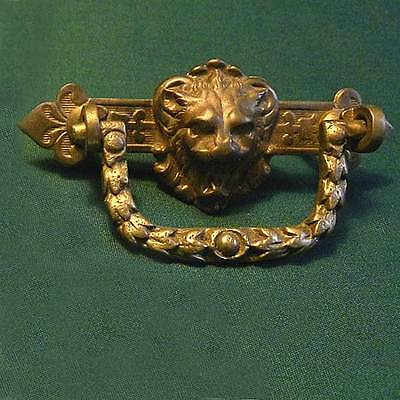 Vintage Victorian Antique Lion's Head Brass Drawer Pull Free Shipping