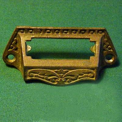 Vintage Antique Cast Iron Drawer Bin Pull with Index Window Free Shipping