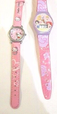 TWO Watches 1 DISNEY PRINCESSES Digital and 1 HELLO KITTY Analogue Age 3-8 vgc