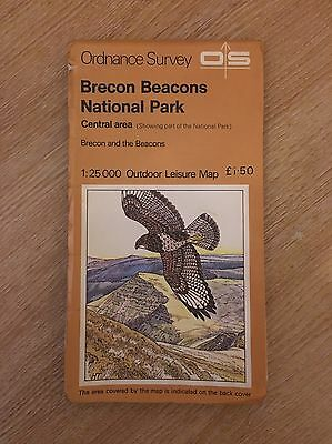 OS Map Brecon Beacons Central Area Dated 1976