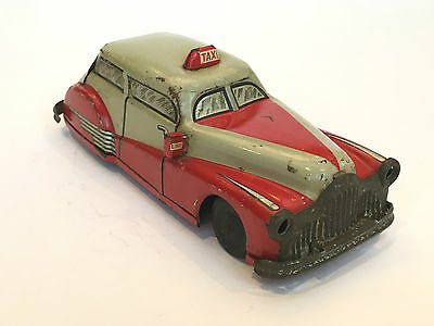 Taxi Cab Red Rouge Joustra Tinplate Tole Friction
