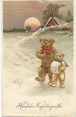 Teddy Bears , one with muff, walk through snow. PP