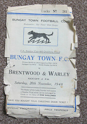 1948/49 Bungay Town FC v Brentwood & Warley. FA Amateur Cup 4th Qualifying.