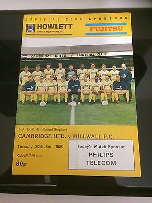 CAMBRIDGE UNITED v MILLWALL 1989-90 FA CUP FOURTH ROUND REPLAY