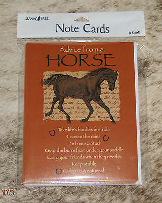 LEANIN TREE Advice From a Horse #35847~PAK OF 8 NOTECARDS~Take Life's Hurdles