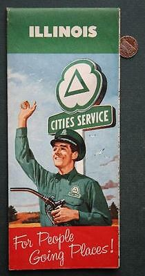 1960 Cities Service Oil Gas service station State of Illinois Highway road map!