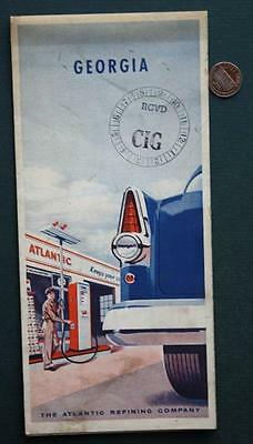 1956 Atlantic Oil Gas service station Georgia Highway road map-VINTAGE Tax Stamp
