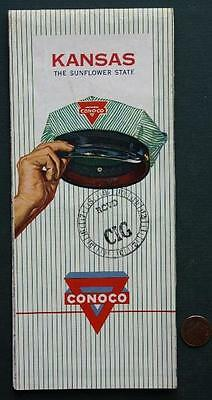 1959 Conoco Oil Gas service station Kansas Highway road map-VINTAGE Tax Stamp!