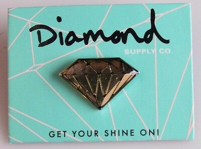Diamond Supply Co. Metal Gold Clear Black Brilliant Skateboarding Lapel Pin NEW