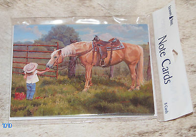 LEANIN TREE Little Girl Offering Horse An Apple Notecards #35979 Pack of 8 ~