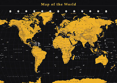 GIANT MAP OF THE WORLD 140cm x 100cm BLACK AND GOLD POSTER WALL BRAND NEW GIFT