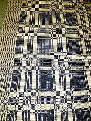 Antique 1800's Hand WOVEN WOOL COVERLET Navy Blue White 2 Panel Hand Loomed