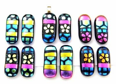 For dangle earrings Lot 12 pcs gorgeous pendant DICHROIC FUSED GLASS (G3) CAB