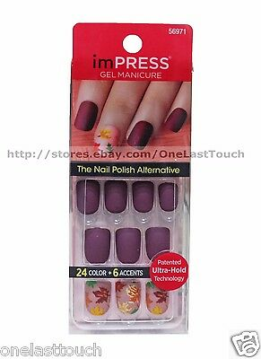 KISS* imPRESS Press-On Manicure WINK WINK 30 Nails+Accent BURGUNDY+LEAVES 13/20