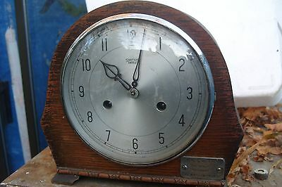 Clock  Parts Smiths  Mantle Clock Working  With  A Plaque  On   Front