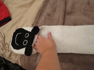 hand knitted shaun the sheep scarf / mitts