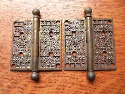"Two Fancy Victorian Floral Antique Brass-Plated Door Hinges 4"" X 4"" c1885 • CAD $107.10"