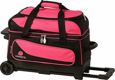 Ebonite Transport 2 Ball Roller Bowling Bag with Wheels Color is PInk/Black