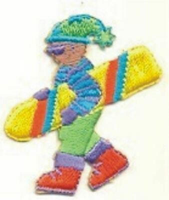 Yellow Snowboard Snowboarding Dude in Stocking Cap Sweater Embroidery Patch