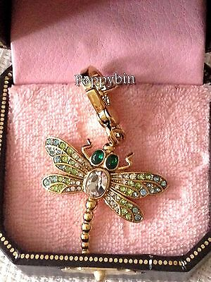 Rare! Brand New Juicy Couture Pave Gold Dragonfly Bracelet Charm In Tagged Box
