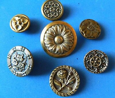 Lot  Medium - Large Antique Vtg METAL Buttons w/ FLOWER Floral Designs