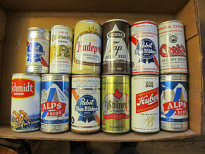 beer can  collection dozen vintage steel cans with pull tabs used