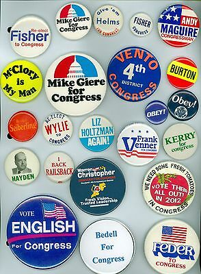 23 Vintage 1960's-2016 U.S. Congress Political Campaign Pinback Buttons Fisher