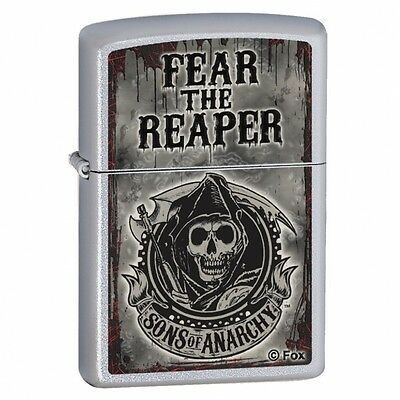 Zippo Sons of Anarchy Fear the Reaper  Satin Chrome Windproof Lighter Brand New