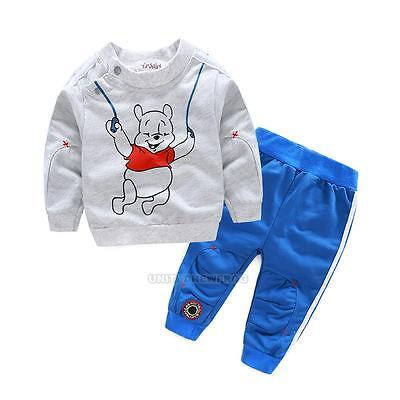 2Pcs Toddler Boys Kids Spring Clothes Pullover T-shirt Tops+ Pants Outfits Sets