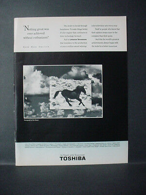 1991 Horse Photo by Pete Turner Toshiba Television Vintage Print Ad 11322
