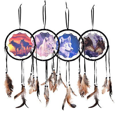 Hot Handmade Dream Catcher With Feathers Wall Hanging Decoration Ornament-Wolf