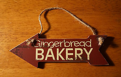 GINGERBREAD BAKERY ARROW SIGN ORNAMENT Christmas Baker Holiday Kitchen Decor NEW