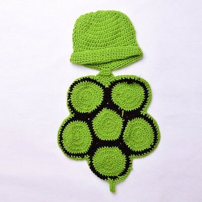 Newborn Baby Unisex Crochet Knit Green Turtle Costume Photography Outfit Gift