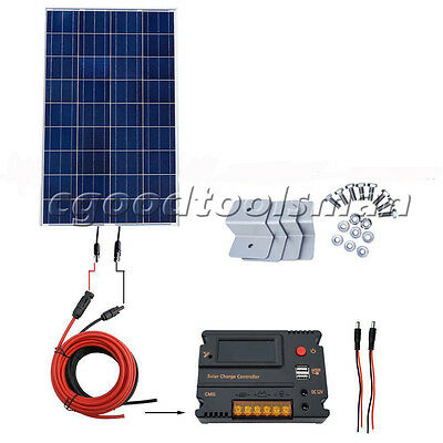 100W Solar Panel Off Grid Kit W/ Temperature Controller for 12V Battery Charger