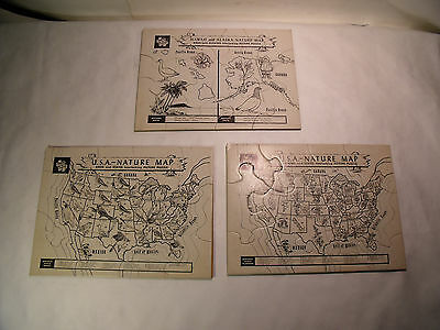 3 Vintage Tuco Thick Puzzles Lot of 3 - Maps of USA Flowers & Birds of States