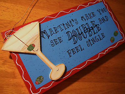 MARTINIS MAKE YOU SEE DOUBLE FEEL SINGLE Drink Glass Home Decor Bar Pub Sign NEW