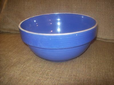 Vintage Yellow Ware Bowl 9 inches - blue