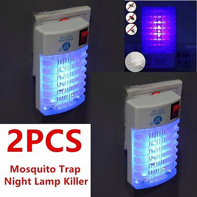 2 x LED Socket Electric Mosquito Fly Bug Insect Trap Night Lamp Killer Zapper FB